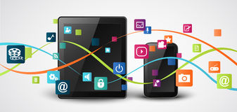 Tablet and mobile phones with colorful application icon Stock Image