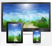 Tablet,mobile,TV devices. Presentation Stock Image