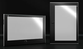 Tablet mockup on black background. Front view. Stock Photo