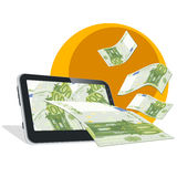 Tablet and money Royalty Free Stock Photography