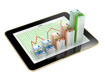 Tablet - money bar graphs showing profit grow Royalty Free Stock Image