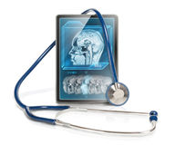 Tablet with MRI scan Stock Image