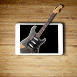 Tablet music concept with blank screen Royalty Free Stock Photos