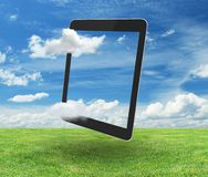 Tablet on nature Stock Image