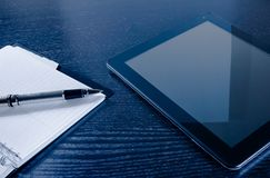 Tablet near notes, concept of new technology Royalty Free Stock Photo