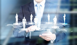 Tablet networking system silhouettes stock photos