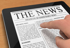 Tablet news concept illustration. Hand pushing and reading tablet news 3d illustration Royalty Free Stock Photo