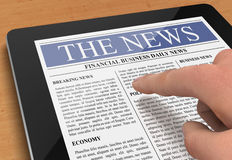 Tablet news concept illustration. Hand pushing and reading tablet news 3d illustration Stock Images