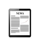 Tablet with news on display Royalty Free Stock Photos