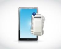 Tablet newspaper ad illustration design Stock Photos