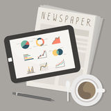 Tablet and newspaper with coffee. Vector Royalty Free Stock Photos