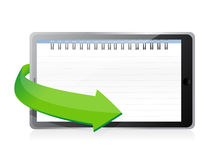 Tablet with a notepad ring binder on screen royalty free illustration