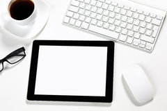 Tablet is in the office of a businessman Royalty Free Stock Photos