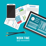 Tablet office work time supply icon, vector Stock Photo