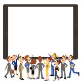 Tablet and office worker meeting royalty free illustration