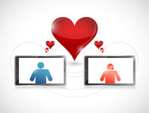 Tablet. online dating graphic concept. Royalty Free Stock Images
