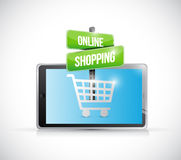 Tablet online shopping sign illustration Royalty Free Stock Photography