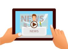 Tablet with online video of breaking news on screen in hands. Vector Stock Photography