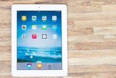 Tablet op lijst Stock Foto