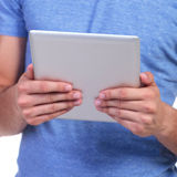 Tablet pad computer in hands of a man Royalty Free Stock Photos