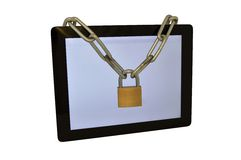 Tablet with padlock Royalty Free Stock Image