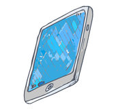 The tablet is painted in watercolor by hand. For design in advertising vector illustration