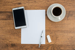 Tablet, paper, Eraser and Mechanical pencil with coffee Royalty Free Stock Photography