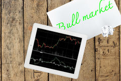Tablet and paper with text bull market on wood table Royalty Free Stock Photo