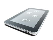 Tablet and paw prints Royalty Free Stock Photo
