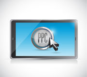 Tablet with pay per click button. ppc concept Stock Images