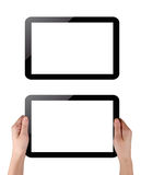 Tablet pc. Hands holding touch screen tablet pc with blanc screen Royalty Free Stock Image