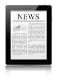 Tablet pc. Fresh news on tablet pc Stock Photo