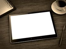 Tablet PC. Ipade - Like Tablet PC with Notebook, Pen and Cup of Coffee on work table stock illustration