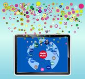 Tablet PC. Social media concept, tablet PC Stock Photos