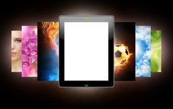 Tablet pc. On the dark background royalty free stock images
