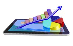 Tablet pc. 3d tablet pc and business graphs,isolated Stock Images