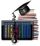 Tablet Pc with Abacus Books and Graduation Hat. 3D illustration of a black tablet computer with a wooden and colorful abacus, a stack of books and a graduation Royalty Free Stock Photography