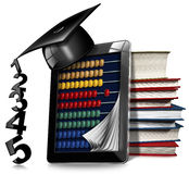 Tablet Pc with Abacus Books and Graduation Hat. 3D illustration of a black tablet computer with a wooden and colorful abacus, a stack of books and a graduation Royalty Free Stock Photo