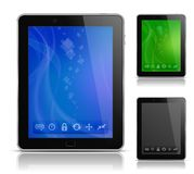 Tablet PC with abstract background and icons Stock Photography