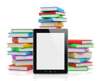 Tablet Pc Ahead of Piles of Books Royalty Free Stock Images