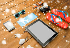 Tablet pc, airplane ticket and beach stuff Stock Photography