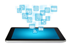 Tablet PC with application icons Stock Photos