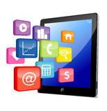 Tablet PC with application icons Royalty Free Stock Photography