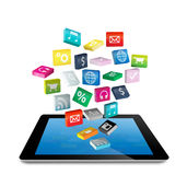Tablet PC with application icons. Tablet PC with cloud of colorful application icons,  on white background (Save Paths For design work Stock Images