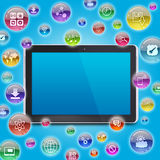 Tablet PC and application icons Stock Image