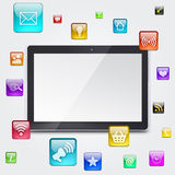Tablet PC and application icons Royalty Free Stock Photos