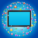 Tablet PC and application icons Royalty Free Stock Photography