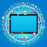 Tablet PC and application icons Royalty Free Stock Images