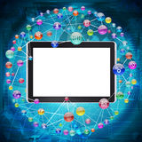 Tablet PC and application icons Royalty Free Stock Image