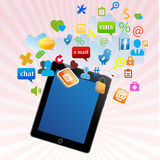 Tablet pc with apps Stock Photo